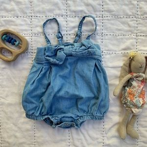 Ruffle Butts One Pieces - Denim bubble romper size 3-6 mos.